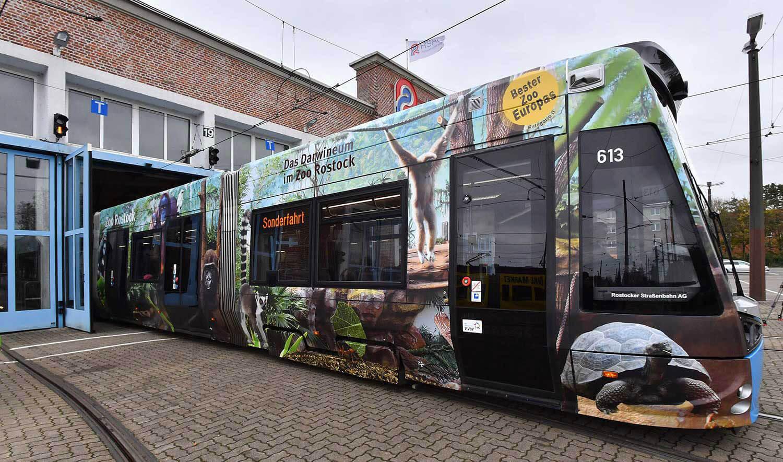 Folierte Straßenbahn im Depot